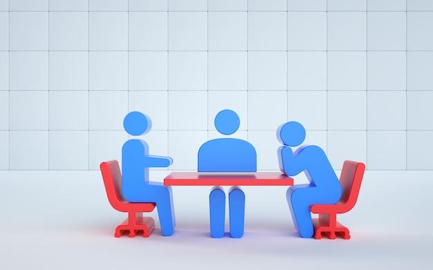 Darstellung einer modellillustration eines meetings bei der arbeit