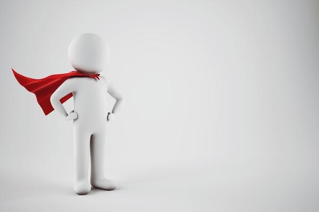 Darstellung eines kleinen weißen kleinen mannes mit rotem heldenumhang