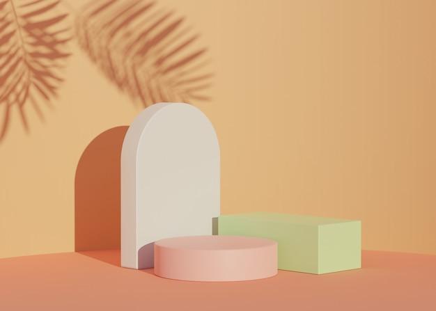 Darstellung eines realistischen modernen minimalistischen podiums mit schatten von palmblättern für das produkt