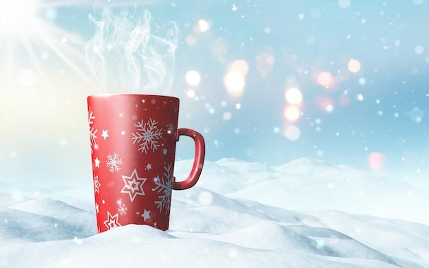 Darstellung von einem weihnachtsbecher im schnee eingebettet 3d