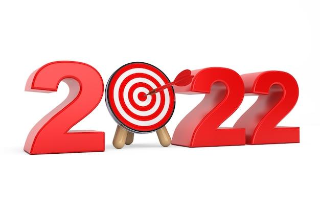 Darts target als 2022-jahr-zeichen auf weißem hintergrund. 3d-rendering