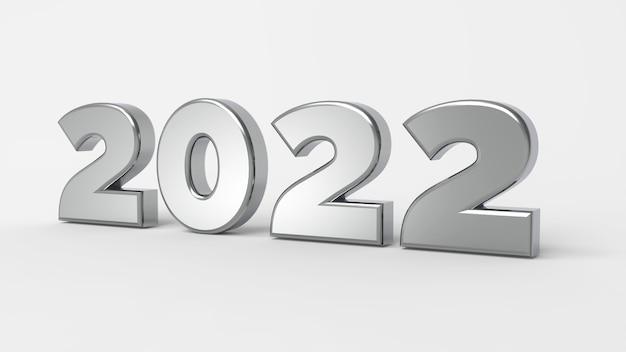 Das 2022 auf weißem hintergrund für 3d-rendering des guten rutsch ins neue jahr