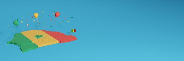 Das 3d-karten-rendering wird mit der senegalesischen flagge für soziale medien kombiniert und mit hintergrundinformationen für die website versehen. rot-gelbe luftballons in hijua-farbe, um den unabhängigkeitstag und den nationalen einkaufstag zu feiern