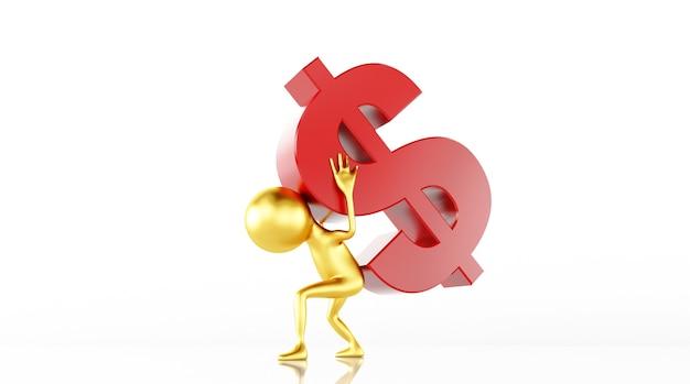 Das 3d-modell-rendering steuert die dollarnote