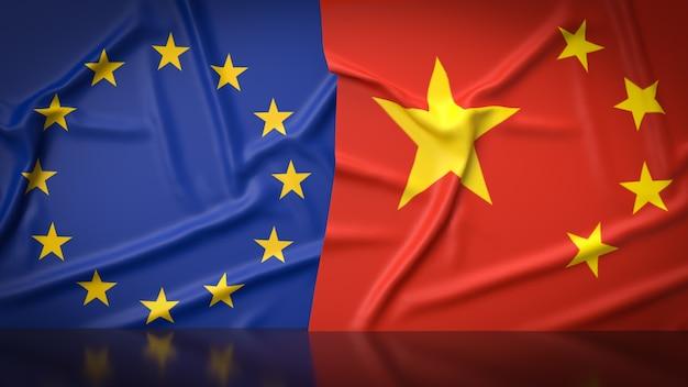 Das 3d-rendering des flaggenbildes der chinesischen und der europäischen union