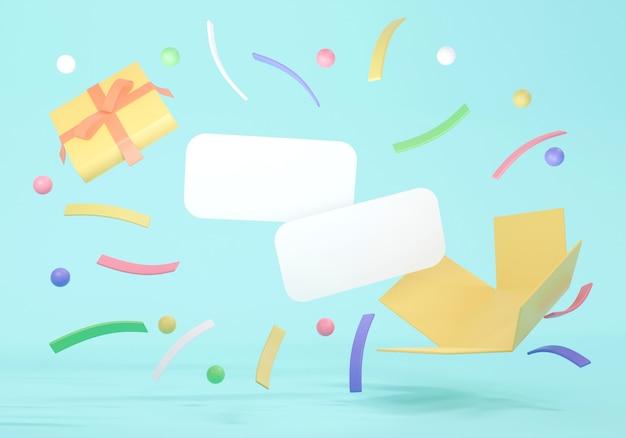 Das 3d-rendering-konzept einer geschenkbox öffnet sich, um luxuriöse geometrische elemente und leere papiere für das kommerzielle design zu zeigen. 3d-rendering.