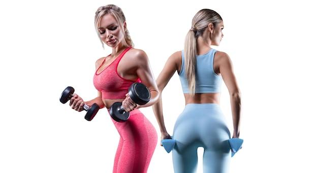 Das bild von zwei sexy mädchen des sports auf einem weißen hintergrund. fitness-konzept. hohe qualität