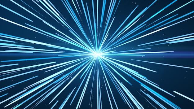 Das blau in der mitte mit blauen und weißen lichtlinien.