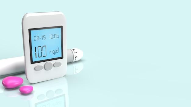 Das blutzuckermessgerät zum testen von diabetes auf 3d-rendering von medizinischen inhalten.