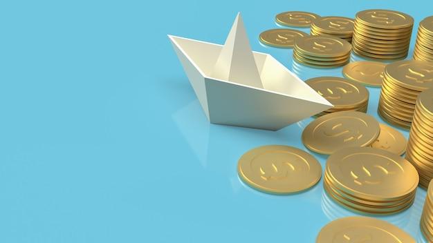Das bootspapier und die goldmünzen auf blauem hintergrund für das 3d-rendering des blauen ozeaninhalts.
