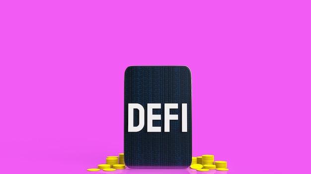 Das defibrillationswort auf tablet und gelben münzen für unternehmen oder kryptowährungskonzept 3d-rendering.