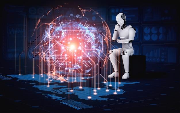 Das denken des ai-humanoiden roboters, der hologrammbildschirm analysiert, zeigt konzept des netzwerks