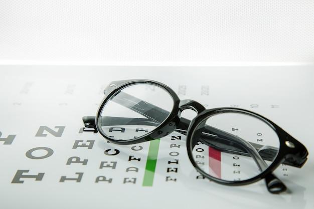 Das diagramm des überprüfungsmedizinischen hintergrundes der augengläser optometrie.