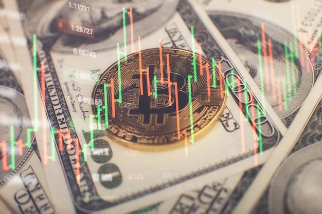 Das diagramm zeigt einen starken anstieg des bitcoin-preises. investitionen in virtuelle vermögenswerte. anlageplattform mit charts und bitcoin-münzen.