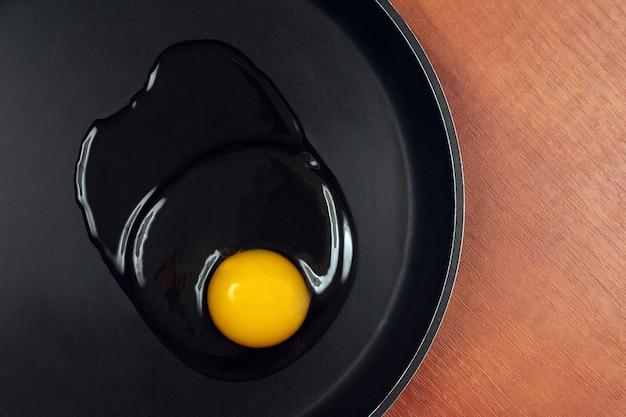Das ei vor dem kochen auf die pfanne geben