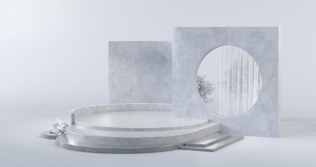 Das einfache designkonzept des podiums mit betonmaterialien.3d rendering.