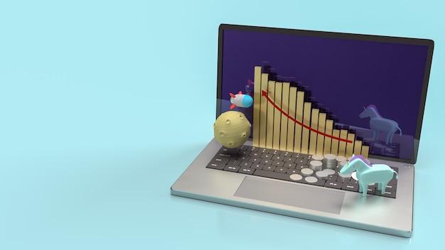Das einhorn und die rakete auf dem notebook für das 3d-rendering von startinhalten.