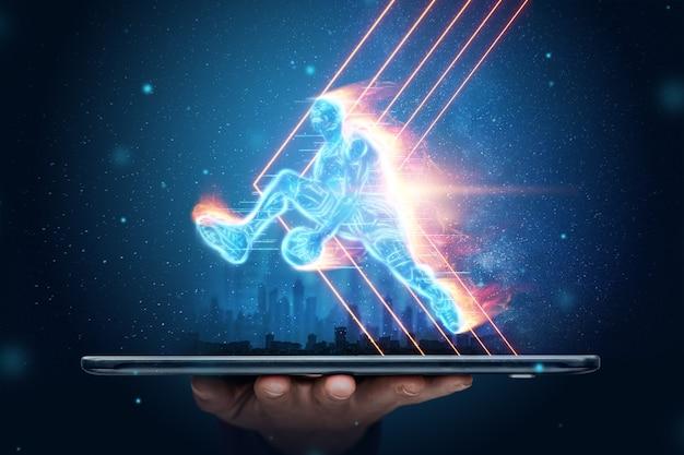 Das feurige bild eines basketballspielers schneidet aus seinem smartphone. kreative collage, sport-app. konzept für online-shop, online-bewerbung, sportwetten.
