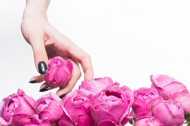 Das floristenmädchen hält kleine knospen aus rosa rosen in der hand. die auswahl der blumen für den blumenstrauß. wassertropfen auf den blütenblättern.