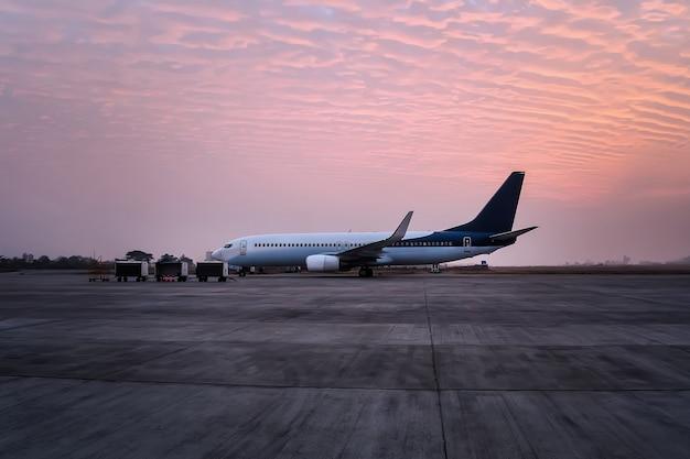 Das flugzeug steht mit dem tunnel am flughafen. das flugzeug ist für den abflug vom flugplatz vorbereitet. gepäckwagen auf der start- und landebahn des flughafens.