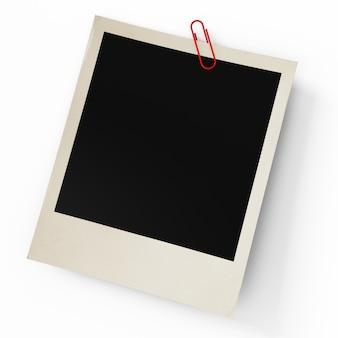 Das foto mit einer büro-büroklammer auf einem weiß
