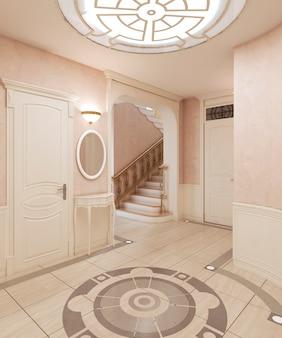Das foyer ist im klassischen stil mit marmorboden und beigen holzquadraten an den wänden. eingebaute deckenleuchte. 3d-rendering.