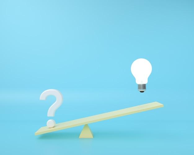 Das fragezeichen befindet sich auf einer waage, auf der die glühbirne auf einem blauen hintergrund schwimmt. minimales kreatives ideenkonzept.