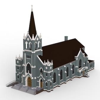 Das gebäude der katholischen kirche, ansichten von verschiedenen seiten. dreidimensionale darstellung auf einem weißen hintergrund. 3d-rendering.