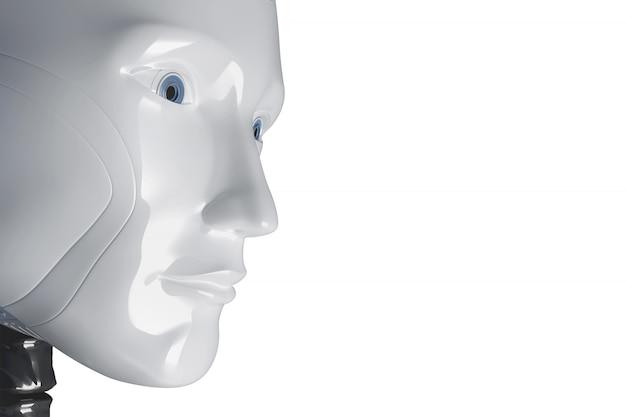 Das gesicht eines weißen roboters. abbildung 3d