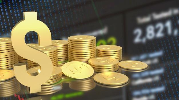 Das gold-gold-dollar-symbol und die münzen auf business-diagrammhintergrund 3d-rendering
