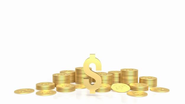 Das gold-gold-dollar-symbol und die münzen auf weißem hintergrund 3d-rendering