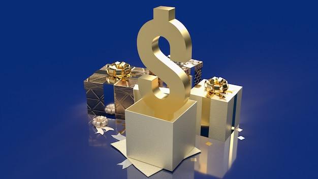 Das golddollarsymbol und die geschenkbox für die wiedergabe des geschäftskonzepts 3d.
