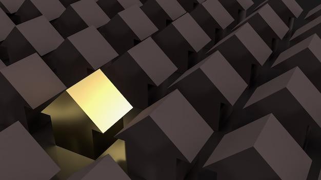Das goldene haus im dunkeln für eigentum oder geschäftskonzept 3d-rendering