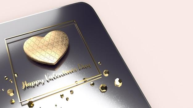 Das goldene herz 3d rendering für valentinstag.