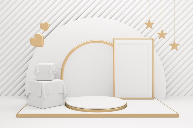 Das goldene podium minimale geometrische weiße und goldene stil abstrakt.3d-rendering