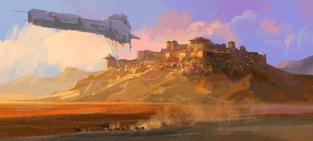 Das heruntergekommene raumschiff schwebt über der gobi-illustration.