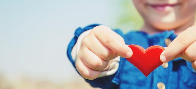 Das herz liegt in den händen des kindes. tiefenschärfe.
