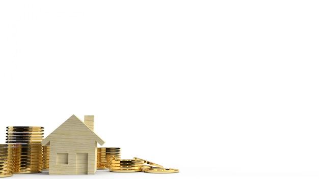 Das hölzerne spielzeughaus und goldmünzen