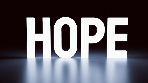 Das hoffnungswort leuchtet im dunkeln für business oder abstraktes konzept 3d-rendering
