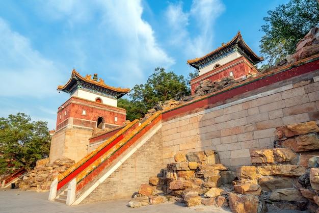Das hotel liegt im alten stadtgebäude im sommerpalast, peking, china.