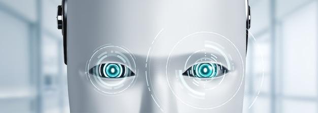 Das humanoide gesicht und die augen des menschlichen roboters schließen ansicht 3d-rendering