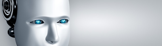 Das humanoide gesicht und die augen des roboters schließen ansicht 3d-rendering