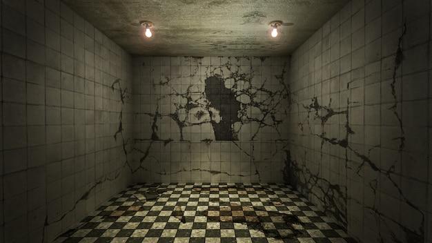 Das innendesign von horror und gruseligem schaden leerer raum., 3d-rendering.