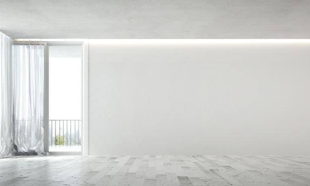 Das innenmodell des entwurfs des gemütlichen leeren wohnzimmers und des hintergrunds der betonwandbeschaffenheit