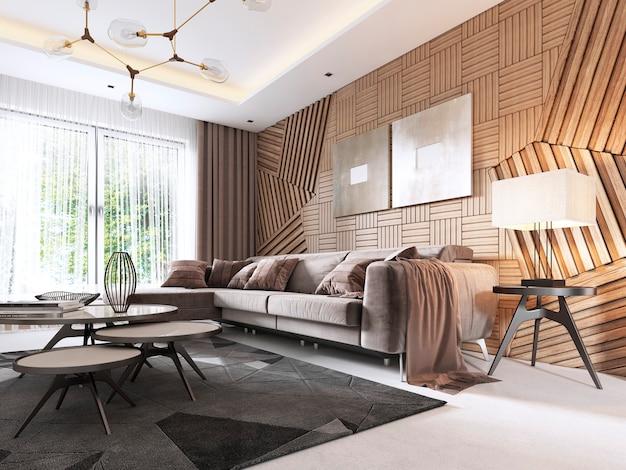 Das innere der lobby ist im klassischen stil in cremefarben gehalten, mit marmormuster auf dem boden und zugang zur treppe. 3d-rendering.