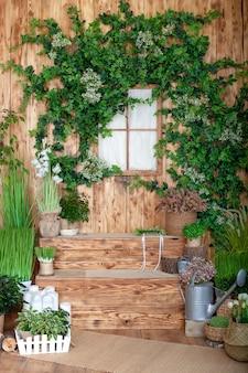 Das innere des frühlingshofs. frühlingsterrasse eines holzhauses mit grünen pflanzen in töpfen. gartenarbeit auf stufen des hauses. veranda landhaus. rustikale terrasse. landveranda in frühlingsdekoration. ostern