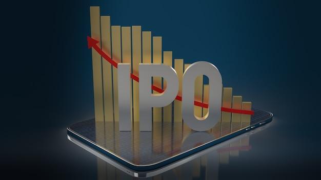 Das ipo oder initial public offering-wort und -diagramm für das 3d-rendering von geschäftsinhalten