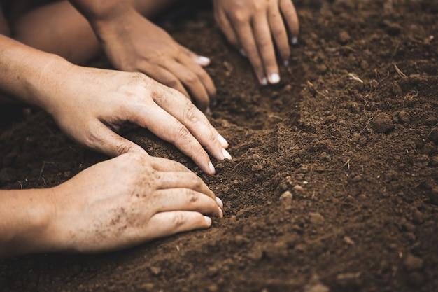 Das kind und das elternteil, die den boden graben, bereiten sich darauf vor, den baum zusammen zu pflanzen