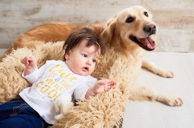 Das kleine baby liegt im korb in der nähe von hund