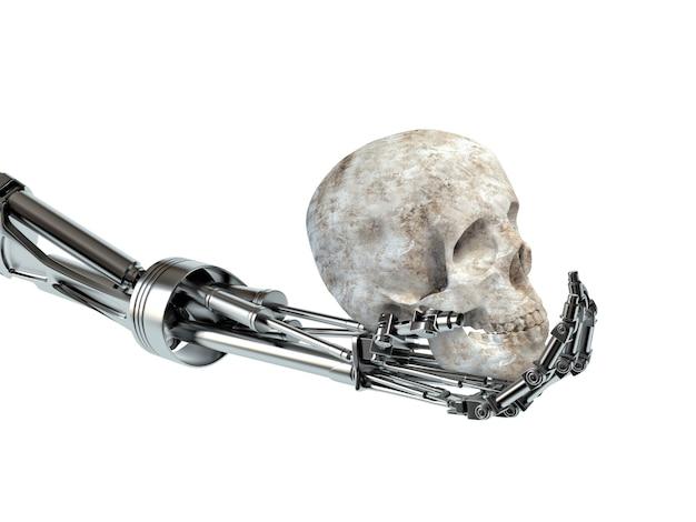 Das konzept der aufstandsmaschinen. hand des roboters und des menschlichen schädels